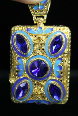 Handwork Decoration Carved Flower & Butterflies Inlay Blue Beads Noble Pendant