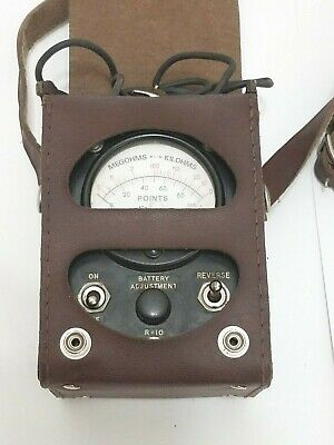 Simpson Vintage Ohm Megohm Kilohm Meter & Leather Case Telephone Tester CK08455L