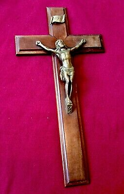 Antique Large Victorian Wall Cross,Jesus,Mahogany Wood CRUCIFIX,Church Salvage
