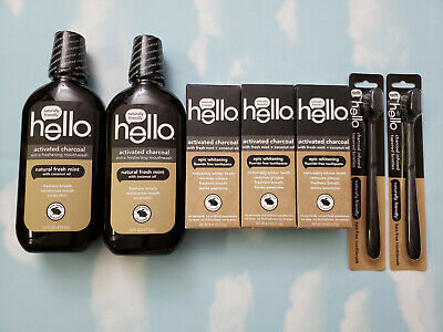 Lot(7) Hello Activated Charcoal Mouthwash/Toothpaste/Toothbrush