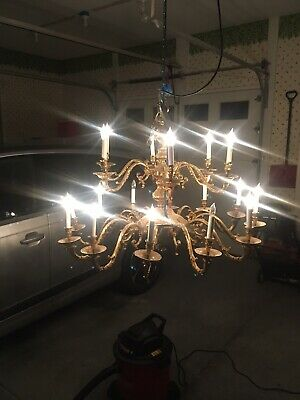 HUGE Ornate Antique 18? Arm Solid Brass Chandelier
