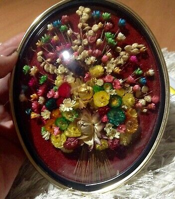 Rare~Vintage Belgium Cideart Convex Bubble Glass Dried Flower Wall Hanging Oval!