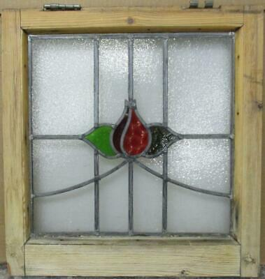 """OLD ENGLISH LEADED STAINED GLASS WINDOW Gorgeous Floral Sweep Design 18"""" x 19"""""""