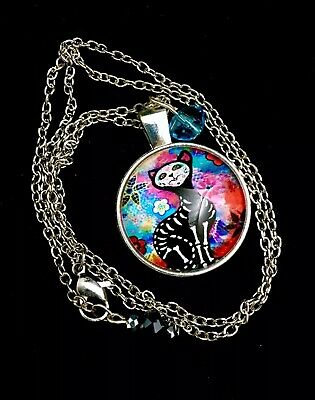 Sugar Skull Black Cat Day Of The Dead Pendant Dia De Los Muertos Halloween