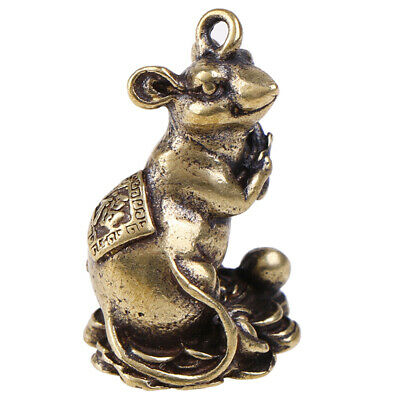 1pc Chinese Copper Rat Hanging Trinket Carved Zodiac Animal Blessing Mouse