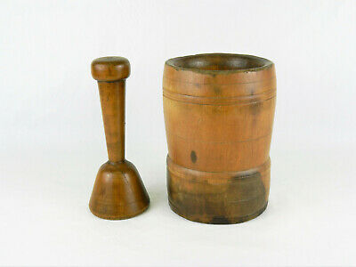 Antique Large Primitive Early American Wooden Mortar & Pestle!