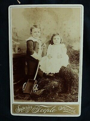 Two Wheeled Wagon With Brother & Sister  Cabinet Card