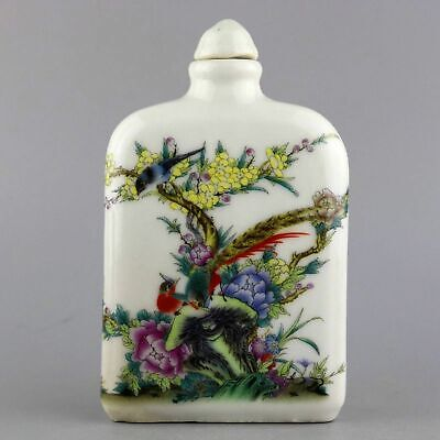 Collect China Old Enamel Porcelain Painting Bird & Flowe Delicate Snuff Bottlle