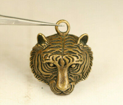 China rare old bronze hand carved tiger head  statue figure collection pendant