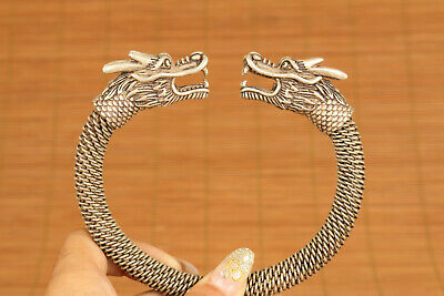 unique chinese old tibet silver hand carved dragon bracelet noble gift