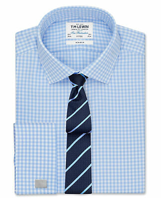 T.M.Lewin Mens Non-Iron Blue Gingham Slim Fit Shirt