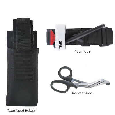 US Tactical One Hand Tourniquet Trauma Shear Molle Pouch First Aid Kit