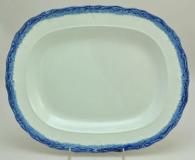 Antique Hall Oval Cobalt Blue Feather Edge Pearlware 16 Inch Platter circa 1820
