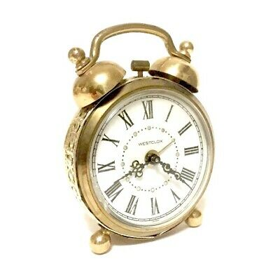 Small Vintage Westclox Double Bell Alarm Clock Wind Up Ornate