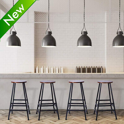 Industrial 2X Bar Stool Wooden Light Brown Solid Wooden Kitchen Breakfast Chair