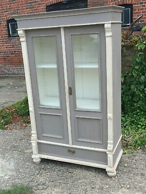 Vintage Antique French Painted Pine Glass Linen Cupboard Armoire Cabinet
