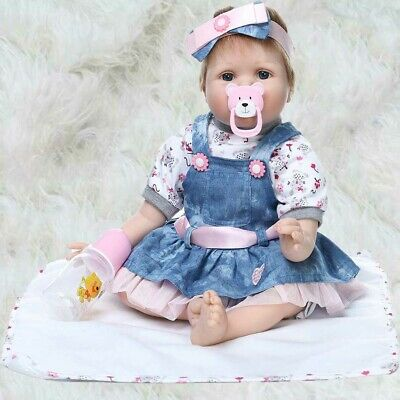 "22"" Handmade Reborn Baby Toy Newborn Lifelike Silicone Vinyl Girl Dolls US SHIP"