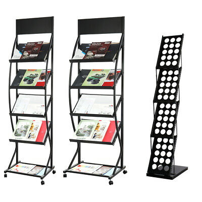 A4 Brochure Leaflet Literature Display Stand Magazine Rack Trolley Portable Uk
