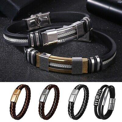 Mens Boys  Stainless Steel Leather Braided Cuff Wristband Bracelet Bangle Lot