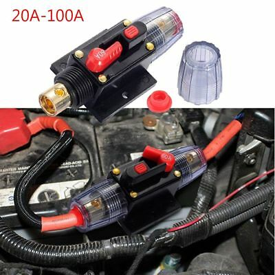 DC 12V 20A-100A AMP Cars Audio Solar Energy Inline Circuit Breaker Fuse Holder