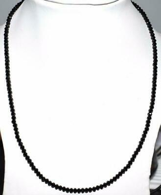 """Black Spinel Gemstone 3.5 mm Rondelle Faceted Beads 16"""" Stand Necklace WZ115"""