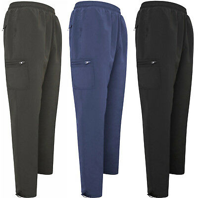 Mens Elasticated Fleece Lined Thermal Cargo Winter Work Bottoms Pants Trousers