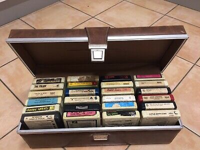 24 x groovy 8 track cartridges tapes (MANY RARE) in period carry case ALL in VGC