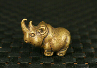 mini Old bronze rhinoceros statue necklace table tea tray decoration gift
