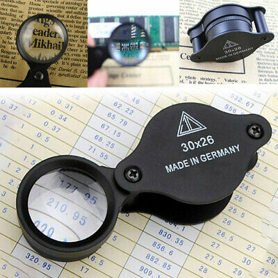 Folding 30X 26mm Jewelers Antiques Loupe Magnifier Pocket Magnifying Glass UK