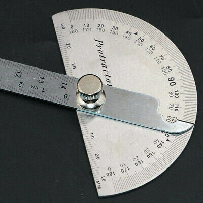 Stainless Steel Protractor Ruler Angle Finder 180° Rotary Measuring Tool GL