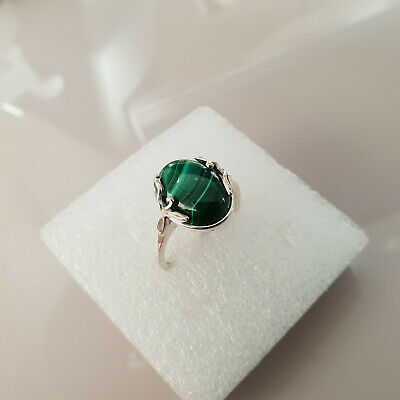 Beautiful 10ct Malachite Solitaire Ring set in Sterling Silver