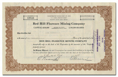 Red Hill Florence Mining Company Stock Certificate