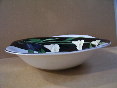 "Black Lilies Quadrille by Sango  10"" Vegetable Bowl  Made In Korea"