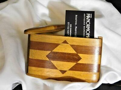A GOOD ANTIQUE ART DECO WOOD CARD  CIGAR or CIGARETTE CASE