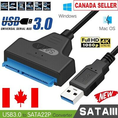 "USB 3.0 to SATA External Converter Adapter Cable Lead For 22Pin 2.5"" HDD SSD CA"