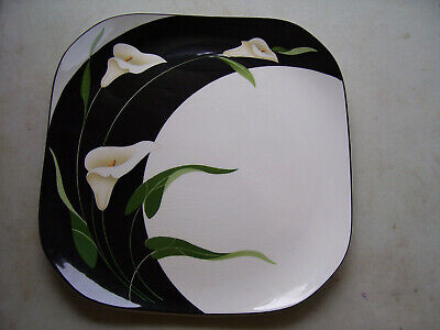 "Black Lilies Quadrille by Sango 13 1/4"" Chop Plate Serving Platter Made In Korea"