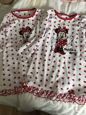 🌈 Boots Mini Club Girls Minnie Mouse Nighties Sleepwear Twins Aged 18-24 Months
