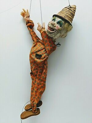 Vintage Antique Crackled Clown Puppet Hand Painted Paper Mache Wood Marionette