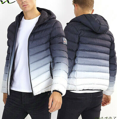NEW Mens HOODED PUFFER Jacket by Brave Soul Biker Bomber GRADIENT PADDED COAT SI