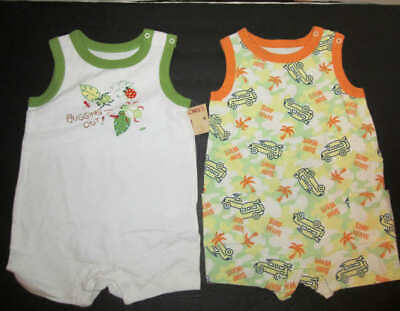Faded Glory Boys lot of 2 Rompers one Piece sleeveless snaps size 3-6 Months