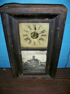 Antique Ansonia Double Weight Driven Ogee Shelf or Wall Clock, Working, Complete