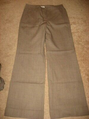 Womens Brown Minicheck ANN TAYLOR LOFT Julie Lined Wool Blend Dress Pants 6