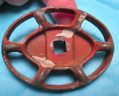 Vintage RED OVAL Faucet WATER HANDLE Steampunk potting shed collectible garden