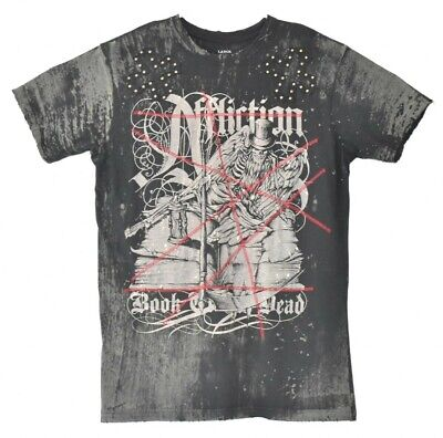 Affliction T Shirt Mens Large Black Distressed Studded Book Of The Dead