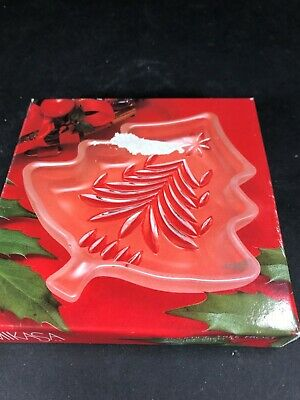 "MIKASA Christmas Tree Shape Glass Dish Yuletide Tree Frost Sweet 5"" Candy NEW BX"