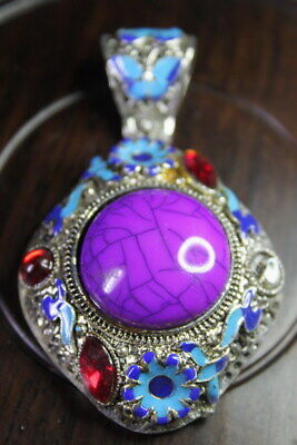 Handwork Rare Miao Silver Carved Butterfly Inlay Purple Beads Auspicious Pendant