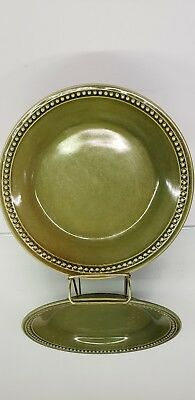 Pier 1 Salad Plate Spice Route Clove Olive Green Dot Band