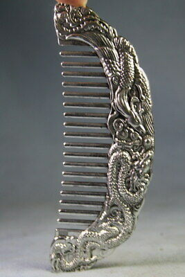 Collectable Precious Ancient Handwork Miao Silver Carved Dragon Exquisite Comb