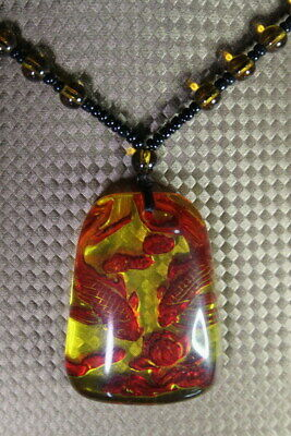 Collectable Exquisite Handwork Amber Carve Goldfish & Flower Precious Necklace