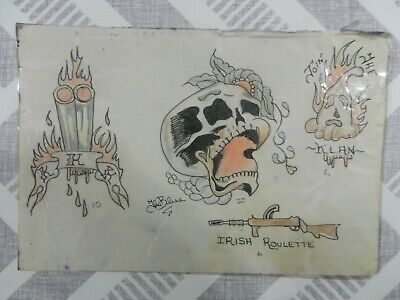 vintage hand drawn & coloured tattoo flash sheet / scrap THE BLUE not machine